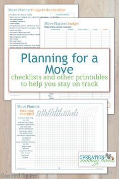 Planner Printables to Help You Stay on Track Free move planner printables to help keep track of all the little details that go along with moving.Free move planner printables to help keep track of all the little details that go along with moving. Moving List, Moving House Tips, Moving Home, Moving Day, Moving Hacks, Moving Check Lists, Moving In Tips, Budget Moving, Moving Organisation