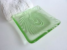 Pale Green Fused Glass Peacock Feather Imprint by bprdesigns