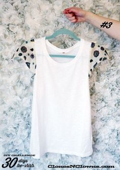 DIY t-shirt with scarf sleeves.