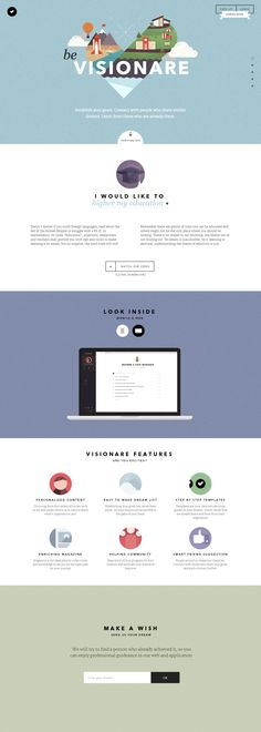 My word, now this is a beautiful one page website. 'Visionare' is an upcoming application that claims to help you achieve your goals by drawing from the experience of people who have already achieved them. I seriously love this blend of flat design and texture. What a great intro animation as well - slick, vibrant and sums up all the categories in one image. Brilliant work by madeo from the Czech Republic.
