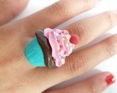 Katy Perry Ring - fake cupcake adjustable ring polymer clay this katy perry ring is Perfect for katy perry costume and for cupcakes lovers