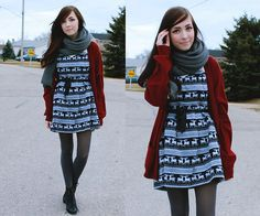 Asian I Candy Reindeer Nordic Dress, Girlfriends Material Grey Chunky Scarf