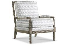 Parthie Chair, Smoke/White Chevron