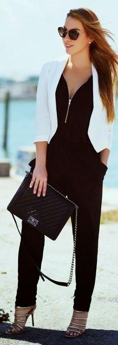 Hot Miami Styles Black Women& Front Zipper Classy Jumpsuit by Chic Fashion . Hot Miami Styles Black Women& Front Zipper Classy Jumpsuit by Chic Fashion World Casual Chic, Chic Chic, Look Chic, Black Women Fashion, Trendy Fashion, Fashion Outfits, Womens Fashion, Classy Fashion, Fashion Clothes
