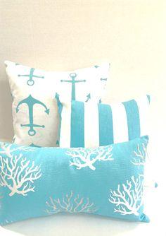 Nautical Pillow Cover Set, Coral Anchor Stripes Pillow Cover Set of 3 and/or single pillow covers Aqua Beach Nautical Ocean Beach Living