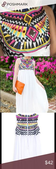 """White Sleeveless Embroidery Pleated Chiffon Dress White Sleeveless Embroidery Pleated Chiffon Dress from SheIn. Never worn. Still with tags. Always """"sold out"""" on the site. Material : Chiffon; Neckline : Round Neck; Silhouette : A Line; Shoulder(cm) : 31cm; Bust(cm) : 87cm; Length(cm) : 136cm SheIn Dresses Maxi"""