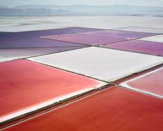 Photographer David Burdney's project, SALT: Fields, Plottings and Extracts, features aerial images he's taken of salterns from Utah, Mexico and Australia. The vivid flats are startlingly — and surprisingly — gorgeous, with violet, turquoise, fuchsia, magenta, cherry and white blocks blending together naturally (though they definitely look man made). FacebookTwitterStumbleUponGoogle+TumblrPinterest