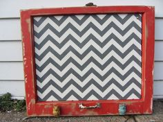 Reclaimed old window - Grey Chevron Cork Board - red distressed frame - turquoise & yellow metal owl knobs - vintage hardware - Memo Board: