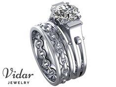Unique Engagement Ring Set,Moissanite Wedding Ring Set,Wedding Ring Set,Handcuff Ring Set,Unique Wedding Ring Set,14K White Gold,Chain Ring by Vidarjewelry on Etsy