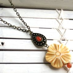 Carved Bone Flower Pendant Necklace with Antique by InGodsHands
