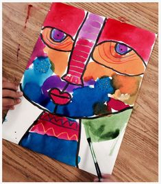 Big Face | Art Projects for Kids. Watercolor, maker and crayon. http://artprojectsforkids.org/portfolio/big-face/