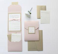 Wedding Invitation Blush and Gold Pocket by MemoryLanePaperie