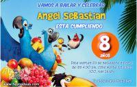 Invitaciones de Rio 2 con Blu Perla y sus amigos para imprimir gratis