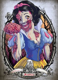 These zombie Disney princesses couldn't get anymore gross. Amongst all these zombie Disney princesses, you can see the likes of Snow White and Cinderella. Zombie Disney, Princesses Disney Zombie, Disney Princess Zombie, Disney Horror, Disney Princess Snow White, Disney Characters, Futurama Characters, Creepy Disney, Horror Cartoon