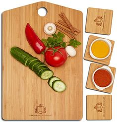 KITCHEN ART Bamboo Cutting Board - 4 Coasters Included - Easy To Clean Butcher Block - Eco-Friendly Construction - Absolute Serving Set - Large Sized Grain Board - Professional Kitchen Accessories
