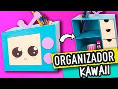 Organizador de Cartón Kawaii Para Escritorio   Manualidades con Cartón   Cartonaje Catwalk - YouTube