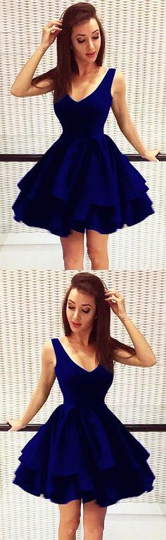ed3cac66c4 Pretty Short Satin V Neck Ruffle Homecoming Dresses 2018 Elegant