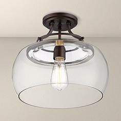 Charleston Bronze 13 Wide Clear Glass Ceiling Light--For the entry way Over Sink Lighting, Foyer Lighting, Bedroom Lighting, Bedroom Ceiling Lights, Cabin Lighting, Flush Lighting, Rustic Lighting, Kitchen Lighting, Lighting Ideas