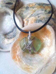 £13.95Black cord aqua sea glass pendant necklace