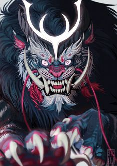 Monster_Face monster_face raising a kitten - Kittens Japanese Art, Character Art, Fantasy Art, Samurai Artwork, Creature Art, Samurai Art, Illustration Art, Japanese Tattoo Art, Art
