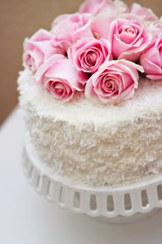 Romantic Coconut and Roses Cake