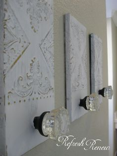 Refresh - Renew: Master bath update-glass knob towel hooks paint is exclusive ivory by dunn edwards