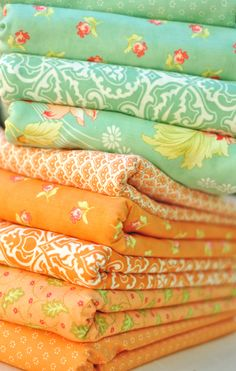 Honeysweet Fabrics, love this combination of colors--mint green and a tint of orange.