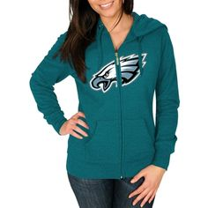 Women's Majestic Midnight Green Philadelphia Eagles Win Big Full Zip Hoodie