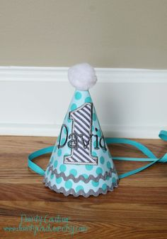Boys First Birthday Party Hat  Michael Millers by DaintyCouture, $25.00