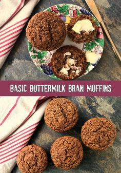 Basic Buttermilk Bran Muffins are wholesome and just sweet enough. High in iron . - Basic Buttermilk Bran Muffins are wholesome and just sweet enough. High in iron and fibre. Simple Muffin Recipe, Healthy Muffin Recipes, Healthy Muffins, Healthy Sweets, Breakfast Recipes, Molasses Recipes, Bran Muffin Recipe With Molasses, Wheat Bran Muffin Recipe, Molasses Bread