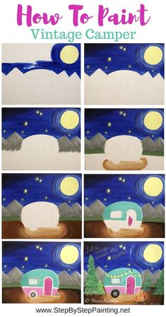 Learn how to make your very own camper painting. This beginner acrylic painting tutorial has a printable of the camper you can use to trace on your canvas. Canvas Painting Tutorials, Easy Canvas Painting, Acrylic Painting For Beginners, Simple Acrylic Paintings, Acrylic Painting Tutorials, Step By Step Painting, Beginner Painting, Painting Lessons, Easy Paintings
