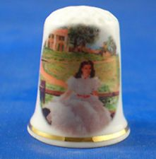 FINE PORCELAIN CHINA THIMBLE GONE WITH THE WIND SCARLETT AT TARA