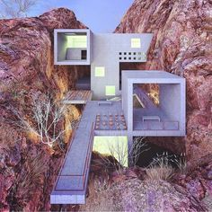 "Art & Architecture: ""Concrete house in a red canyon, designed & visualized by . to be feature"" Concrete Architecture, Futuristic Architecture, Beautiful Architecture, Contemporary Architecture, Landscape Architecture, Interior Architecture, Casa Do Rock, Design Exterior, Concrete Houses"