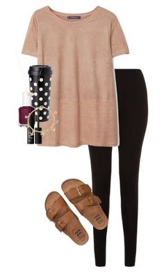 """Always see the glass half full"" by erinlmarkel ❤ liked on Polyvore featuring Billabong, Violeta by Mango, Kate Spade, Essie, NARS Cosmetics, Bling Jewelry and Kendra Scott"
