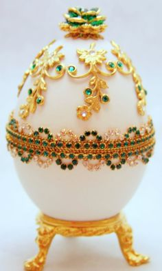 Divine Emerald Treasures Faberge Style Jeweled Egg by eggstreme