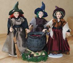 The Grimelkin Sisters, Witches, Ooak miniature dolls