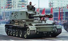 East German Akatsiya mm self-propelled artillery. Military Photos, Military History, Self Propelled Artillery, Warsaw Pact, East Germany, Military Weapons, Military Equipment, German Army, Armored Vehicles