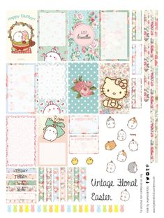 How cute are these vintage Easter stickers? These super cute DIY printable stickers are perfect for your planner, bullet journal, and other DIY projects! The stickers feature molang and hello kitty! Agenda Planner, Free Planner, Planner Pages, Happy Planner, Free Printable Planner Stickers, Free Stickers, Digital Bullet Journal, Vintage Glam, Vintage Floral