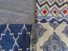 fabric combo; clockwise from top: Quadrille, Quadrille, Lacefield Designs, John Robshaw for Duralee