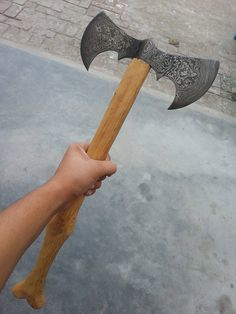 heavy duty damascus hunting axe with strong grip by customknives65