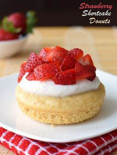 Strawberry Shortcake Donuts (Baked Recipe!) - Amazing, quick, whole grain cake donuts with easy homemade dairy-free whip and fresh strawberries. Too good to be true! (Includes directions if you don't have a donut pan, too!)