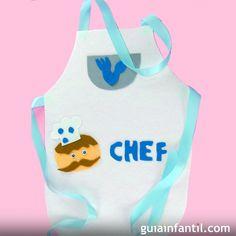Delantal de cocinero. Manualidades de disfraces caseros Fun Crafts For Kids, Gifts For Kids, Activities For Kids, Diy And Crafts, Arts And Crafts, Chef Apron, Le Chef, Cooking With Kids, Cool Kids