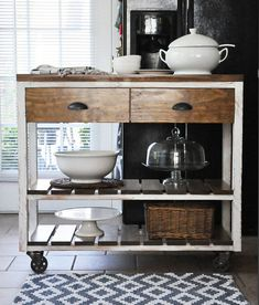 Shelves under the island for more storage? Kitchen Island Kitchen Rolling Cart Rolling by LillyandGraceDesign