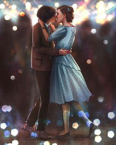 Stranger Things Art of Eleven & Mike at the Snowball dance. { Finn is actually taller than Millie but okie } Stranger Things Fotos, Stranger Things Aesthetic, Stranger Things Funny, Eleven Stranger Things, Stranger Things Netflix, Stranger Things Season, Prince Charmant, Millie Bobby Brown, Film Serie