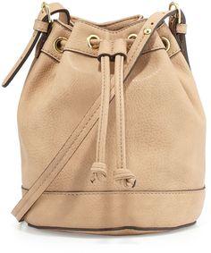 Neiman Marcus Sierra Drawstring Bucket Bag, Buff
