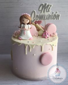 Drip Cake para Comunión Drip Cakes, Cake Ideas, Desserts, Food, Frozen Party, Goodies, Food Cakes, Cooking, Flowers