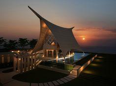 """The Ritual Chapel"" set on the towering cliff of Ulluwatu at Suluban Beach, Bali    http://travelling-bali.com"