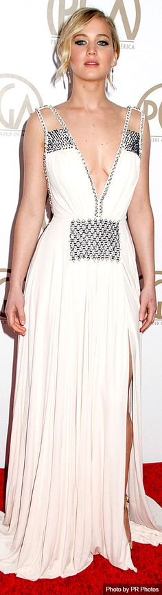 Jennifer Lawrence Wearing Embellished Prada Dress and Prada Ankle Strap Platform Sandal