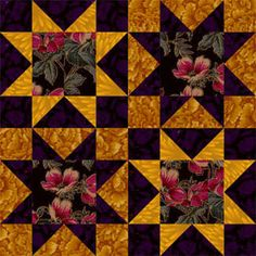 """6"""" and 12"""" Clustered Stars Quilt Block Pattern"""