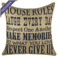"""Handmade burlap pillow with block printing.     Product: PillowConstruction Material: Burlap cover and cotton fillColor: Navy and beigeFeatures:  Handmade by TheWatsonShopInsert included Zipper enclosureMade in the USA Dimensions: 16"""" x 16""""Cleaning and Care: Spot clean only"""